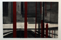 """""""Untitled #4"""" gemaakt eerste helft 2012 Gouache, Tempera, olie verf, inkt en grafietstift op canvas en MDF plaat. 1500 euro"""